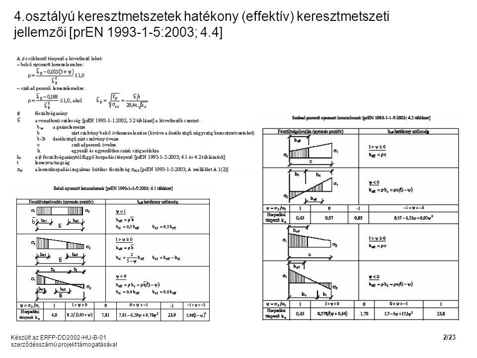 4.osztályú keresztmetszetek hatékony (effektív) keresztmetszeti jellemzői [prEN 1993-1-5:2003; 4.4]
